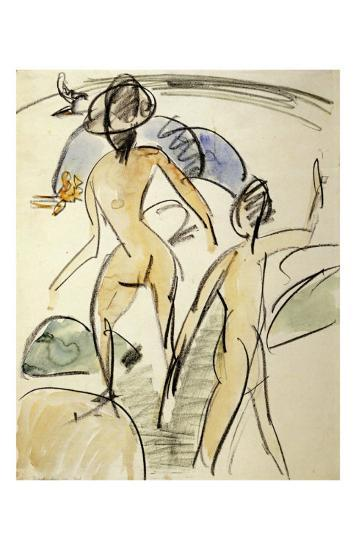 Bather with Hat-Ernst Ludwig Kirchner-Art Print