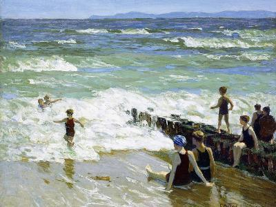 Bathers at Breakwater-Edward Henry Potthast-Giclee Print