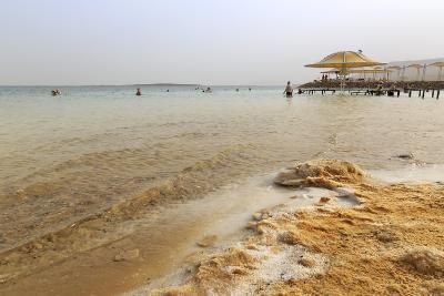 Bathers in the Dead Sea, with Salty Shoreline, Ein Bokek (En Boqeq) Beach, Israel, Middle East-Eleanor Scriven-Photographic Print
