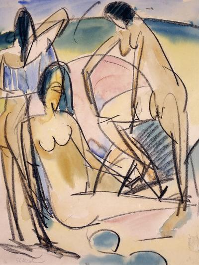 Bathers on the Shore, Fehmarn-Ernst Ludwig Kirchner-Giclee Print