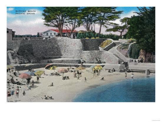 Bathing Beach at Pacific Grove - Pacific Grove, CA-Lantern Press-Art Print