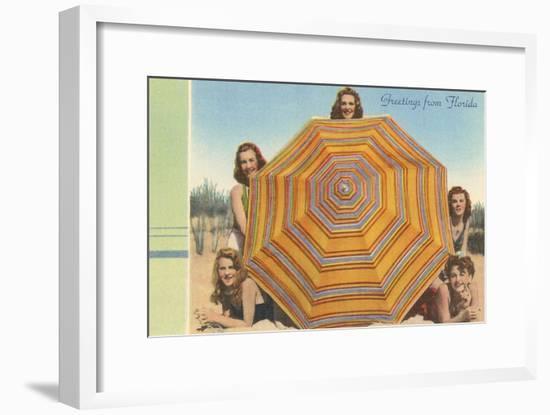 Bathing Beauties and Umbrella--Framed Art Print
