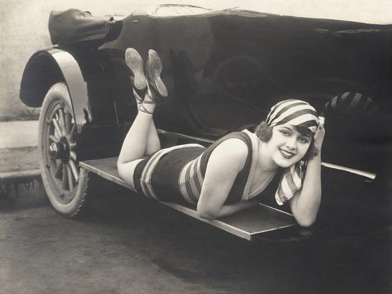 Bathing Beauty Posing on Running Board of Convertible--Photo