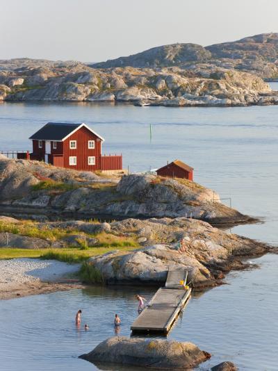 Bathing in Sea, Skarhamn on Island of Tjorn, Bohuslan, on West Coast of Sweden-Peter Adams-Photographic Print