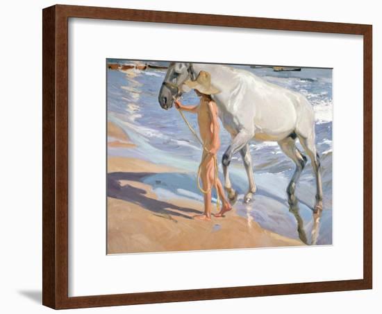 Bathing of a Horse-Joaquín Sorolla y Bastida-Framed Giclee Print