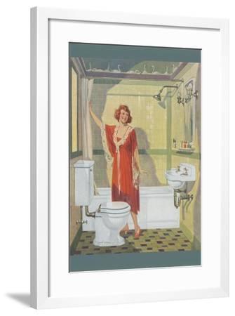 Bathroom of the Thirties--Framed Art Print