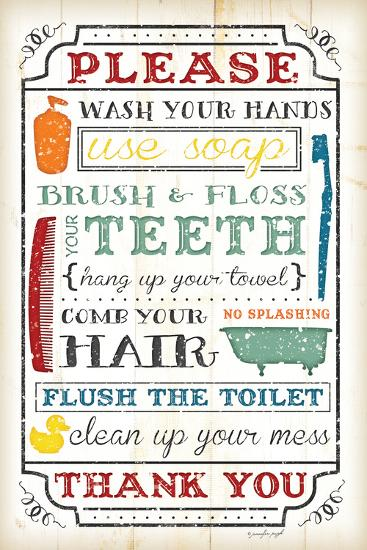 Bathroom Rules-Jennifer Pugh-Art Print