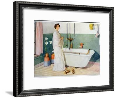 Bathroom Scene - Lisbeth, Pub. in 'Lasst Licht Hinin'-Carl Larsson-Framed Giclee Print
