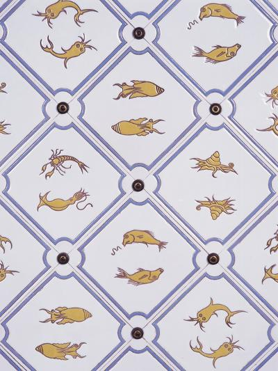 Bathroom Tiles with Marine Motifs--Photographic Print