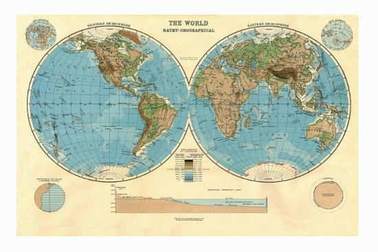 Bathy-Orographical Map of the World, c1920s-Unknown-Giclee Print