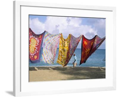 Batiks on Line on the Beach, Turtle Beach, Tobago, West Indies, Caribbean, Central America-Michael Newton-Framed Photographic Print