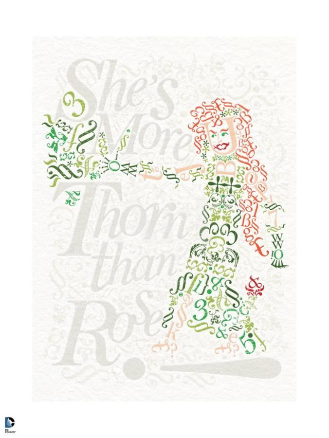 Batman Poison Ivy Drawn Out In Words Letters And Symbols With