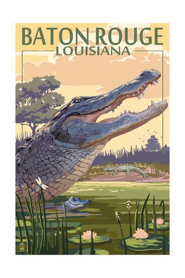 Baton Rouge, Louisiana - Alligator Scene-Lantern Press-Art Print