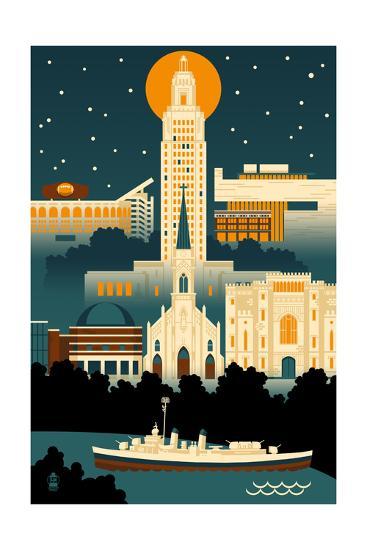 Baton Rouge, Louisiana - Retro Skyline (no text)-Lantern Press-Art Print