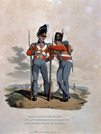Battalion Infantry 6th Regiment and 23rd (Or Royal Welsh) Fusiliers, from 'Costumes of the Army…-Charles Hamilton Smith-Giclee Print