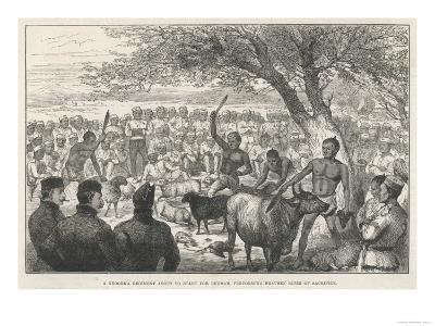 Battalion of Ghurka Soldiers En Route to Burma Offering Sacrifices to Drive Away Cholera--Giclee Print