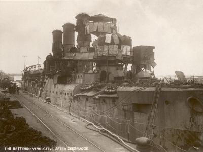 Battered Cruiser HMS Vindictive after Zeebrugge Raid--Photographic Print