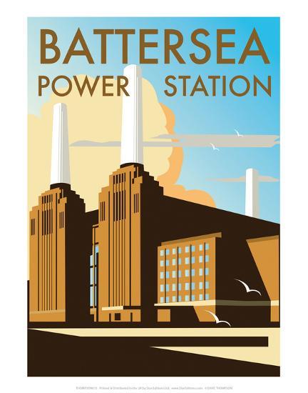 Battersea Power Station - Dave Thompson Contemporary Travel Print-Dave Thompson-Art Print