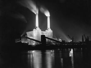 Battersea Power Station Lit up at Night, 1951