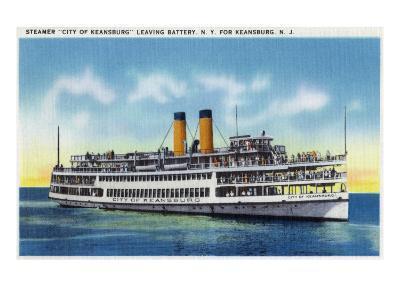 "Battery, New York - View of the Steamer ""City of Keansburg"" Heading Towards Keansburg, Nj, c.1937-Lantern Press-Art Print"