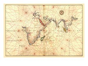 Portolan Map of Africa, the Indian Ocean and the Indian Subcontinent by Battista Agnese