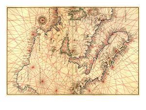Portolan Map of Italy, Sicily, North Africa and the Mediterranean by Battista Agnese