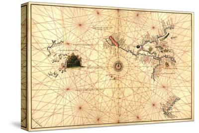 Portolan Map of Western Hemisphere Showing What Will Become the US, Panama and South America