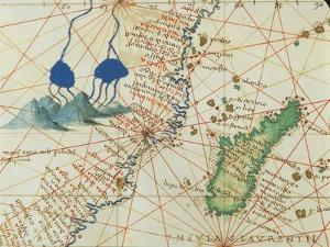 The Indian Ocean and Part of Asia and Africa: Spring of the Nile River and Madagascar by Battista Agnese