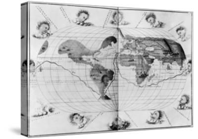 World Map Tracing Magellan's World Voyage, from the Portolan Atlas of the World, c.1540