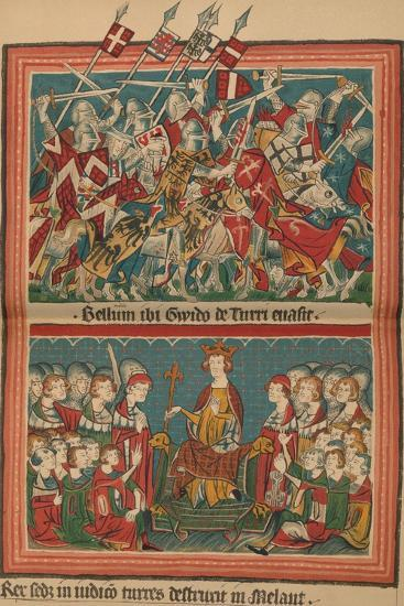 Battle and Court of Justice During Henry VII's March Upon Rome: A Page from the Codex Balduineus-Unknown-Giclee Print