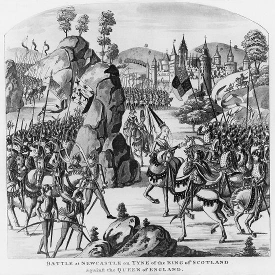 Battle at Newcastle-Upon-Tyne of the King of Scotland and Matilda, Queen of England Against Stephen--Giclee Print