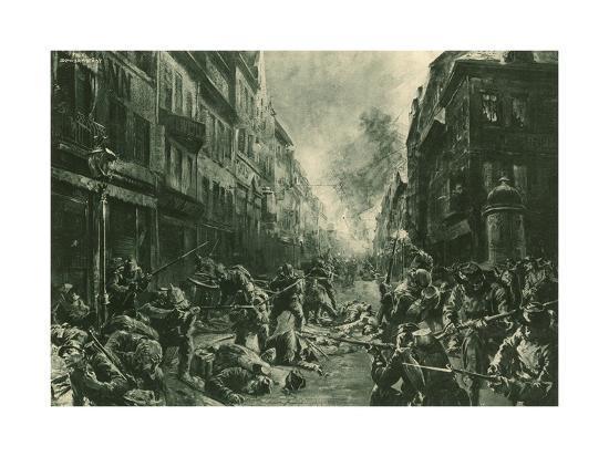 Battle at Night in Mulhausen-Felix Schwormstadt-Giclee Print