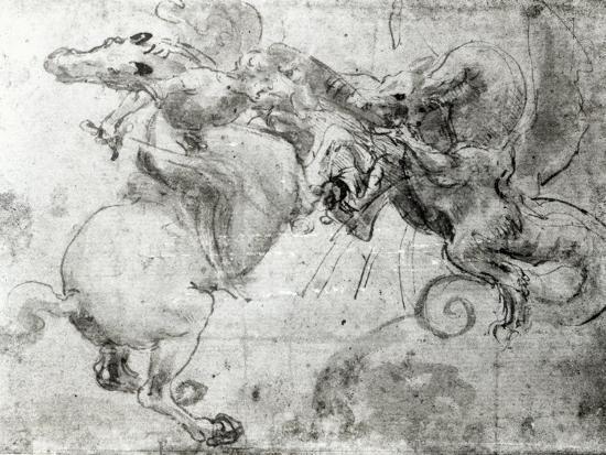Battle between a Rider and a Dragon, c.1482-Leonardo da Vinci-Giclee Print
