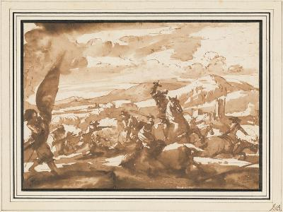 Battle Between Cavalry and Foot Soldiers (Pen and Ink with Brown Wash on Paper)-Jacques Courtois-Giclee Print