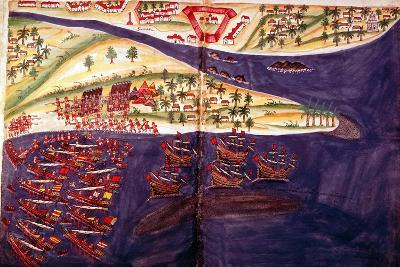 Battle Between Muslims and Portuguese at Surat, Gujarat Near Bombay, India, C16th Century--Giclee Print