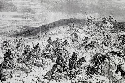 Battle Between Soldiers and Indians, Etching, Indian Wars, United States--Giclee Print
