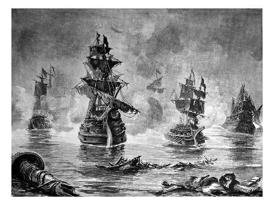 Battle Between the English Fleet and Spanish Armada, 1588--Giclee Print