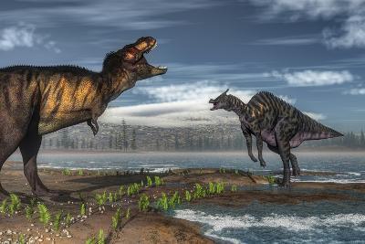 Battle Between Tyrannosaurus Rex and Saurolophus-Stocktrek Images-Art Print
