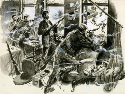 Battle for Mount Street Bridge, Dublin, April 1916-English School-Giclee Print