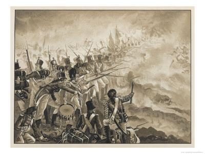 Battle of Alexandria: The 28th Regiment in Action During the Battle-J. Marshman-Giclee Print