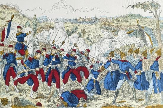 Battle of Borny-Colombey, at Metz, Between Prussians and French, August 14, 1870--Giclee Print