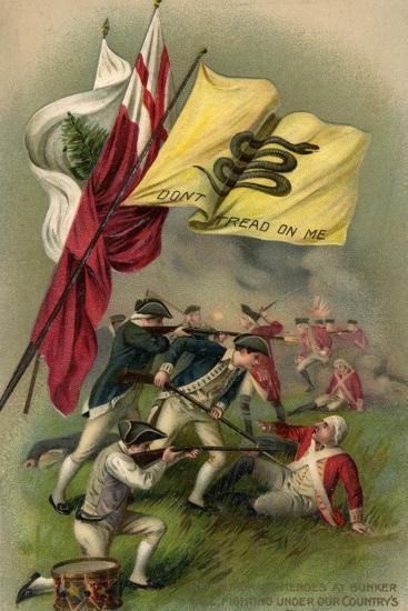 Battle of Bunker Hill with Gadsden Flag, 1899--Giclee Print