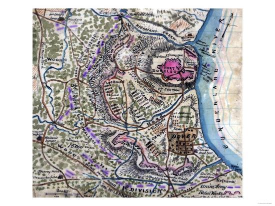 Battle of Fort Donelson - Civil War Panoramic Map-Lantern Press-Art Print