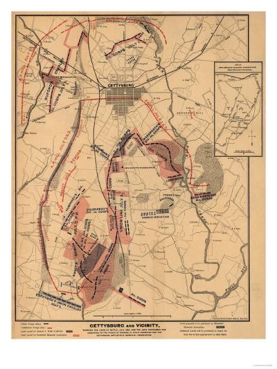 Battle of Gettysburg - Civil War Panoramic Map-Lantern Press-Art Print