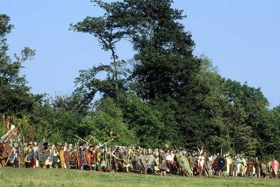 Battle of Hastings Re-Enactment, Saxon and Norman Warriors, Battle Abbey, Sussex--Giclee Print