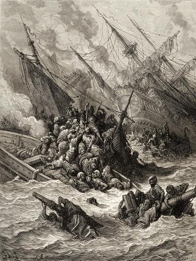 Battle of Lepanto in 1571, Illustration from 'Bibliotheque Des Croisades' by J-F. Michaud, 1877-Gustave Dor?-Giclee Print