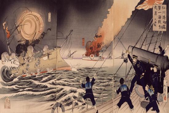 Battle of Sinakawa Won by Japanese, Russian Ships Koletz and Mariyashe, 1904--Giclee Print