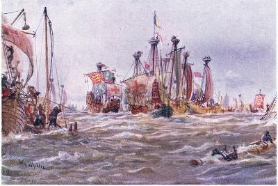 Battle of Sluys 1340 Ad, 1915-William Lionel Wyllie-Giclee Print