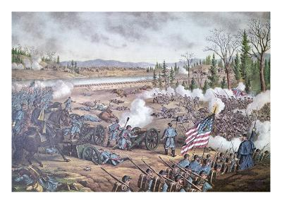 Battle of Stone River, 1863, engraving of Kurz and Allison--Giclee Print