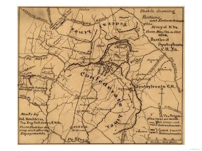 Battle of the Wilderness - Civil War Panoramic Map-Lantern Press-Art Print